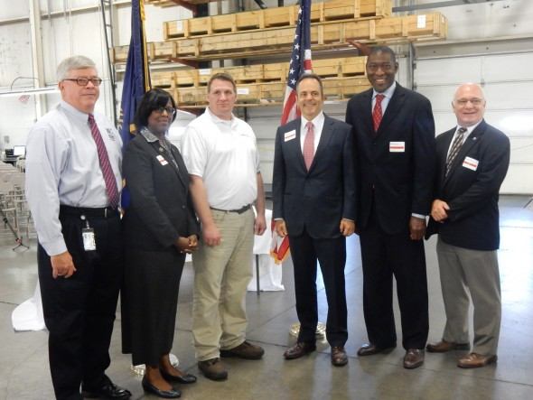 Honored: Kentucky Governor Matt Bevin (third from right) honored voestalpine RFC for its training program.