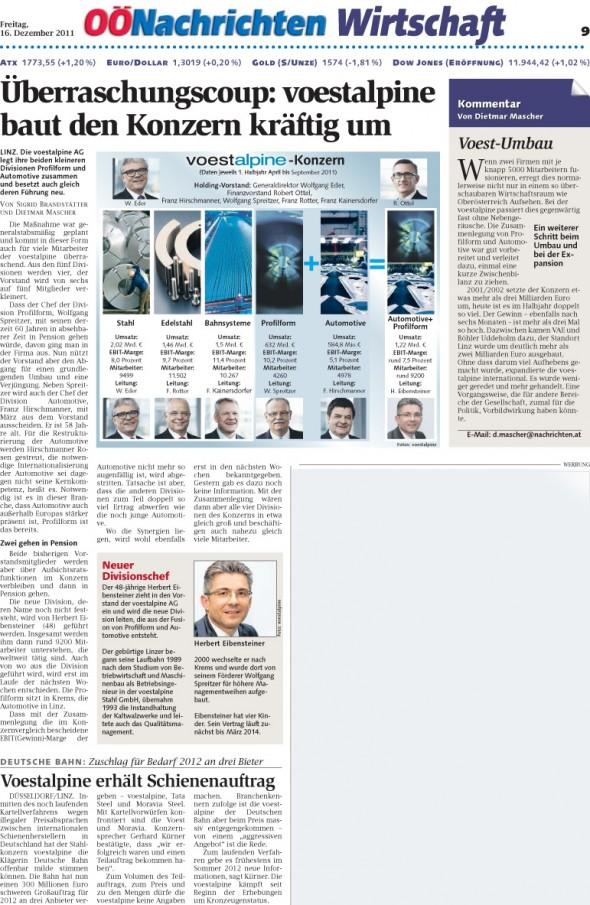 OÖN Zeitungsartikel Umbau voestalpine