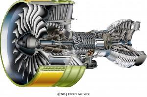 Représentation en coupe du GP 7200, le réacteur de l'A380 (© Engine Alliance)