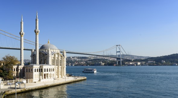 Ortakoy Mosque on the Bosphorus in Istanbul, Turkey