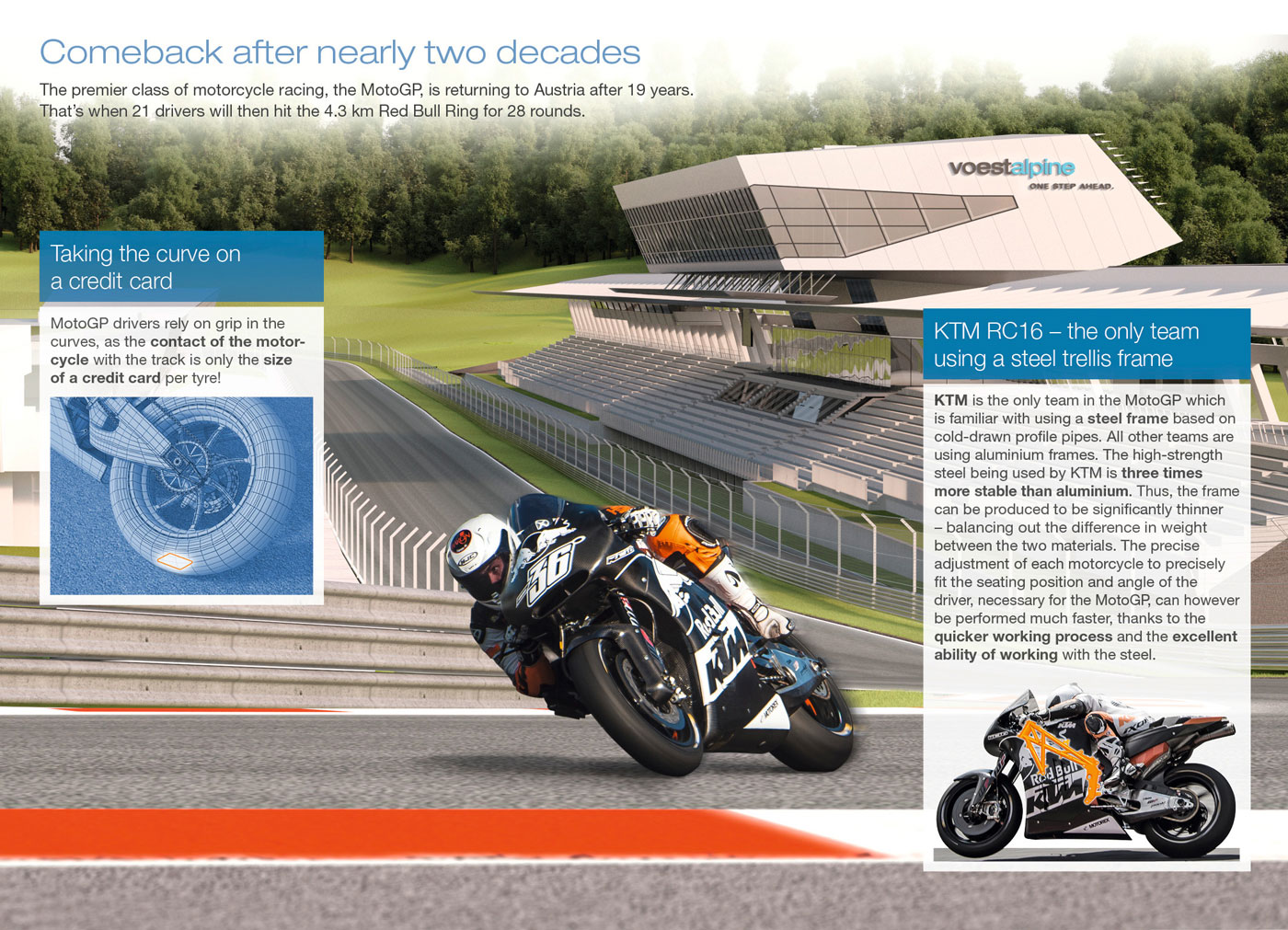 KTM steel-tube chassis infographic