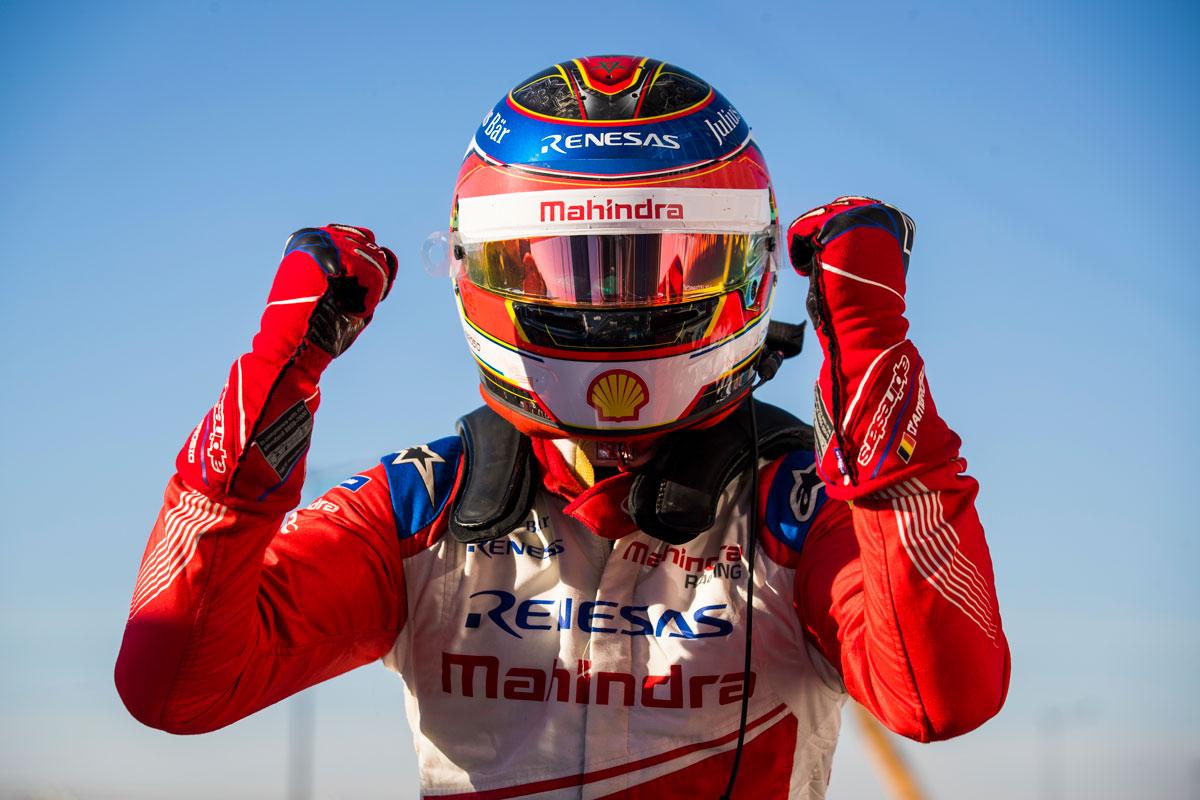 Jerome d'Ambrosio, Mahindra Racing, feiert seinen Sieg (Foto: Sam Bloxham / LAT Images)
