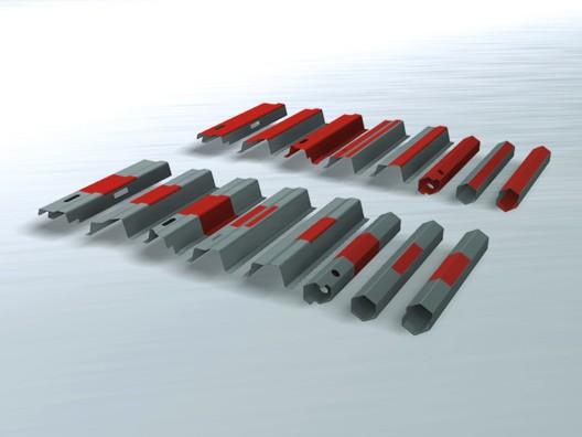 Beispiele Teilhärtung, Bildtext: Hohe Flexibilität für Rollform-Hardening-Profile durch exakte Teilhärtung sowohl in Längs- wie in Querrichtung